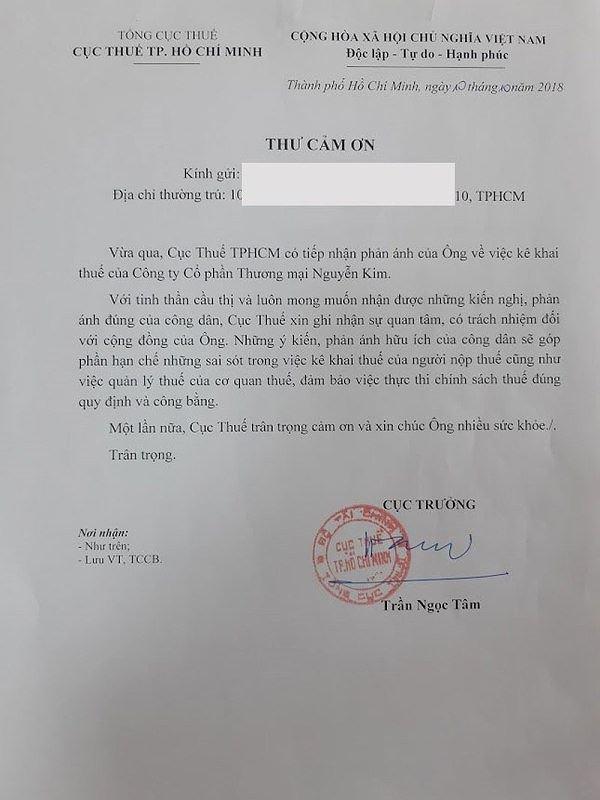 Thưởng 3 triệu đồng người cung cấp thông tin truy thu thuế Nguyễn Kim Ảnh 2