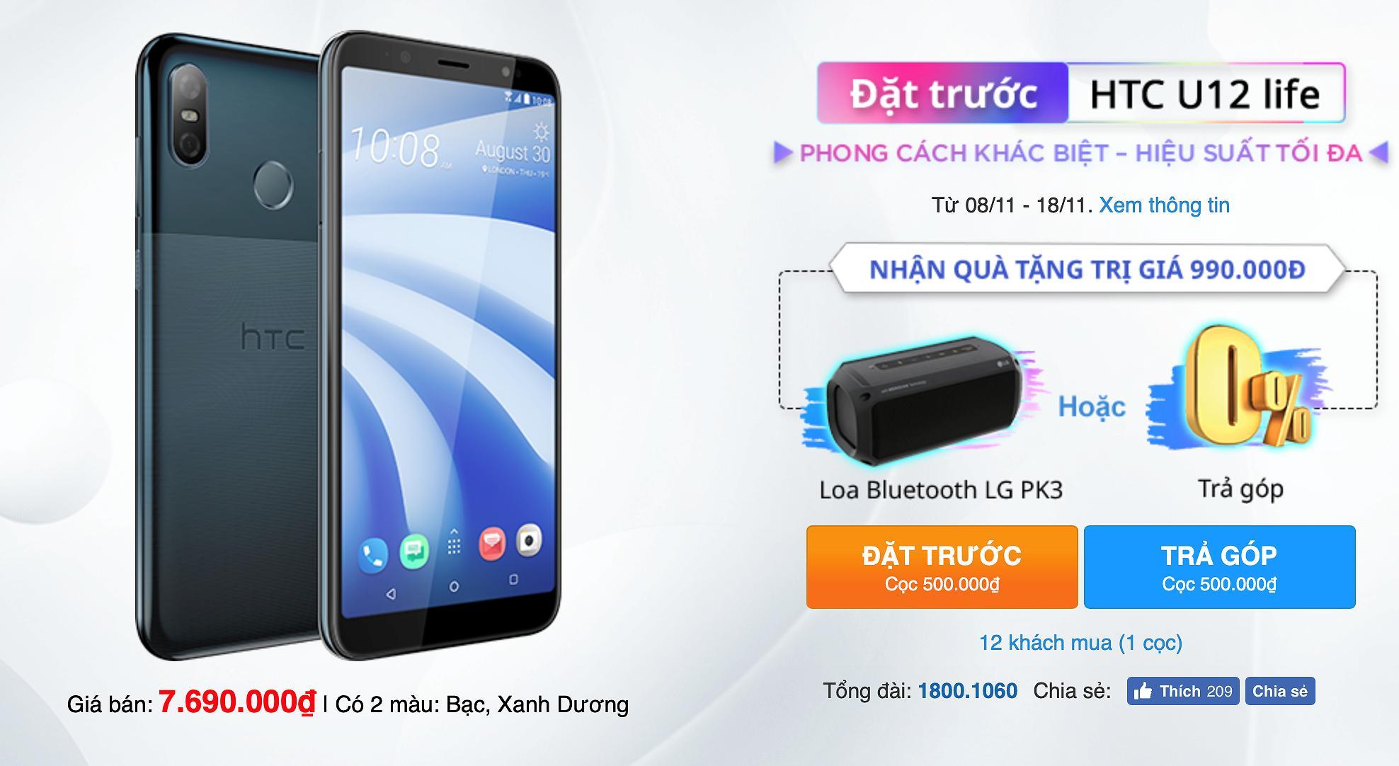 HTC U12 life chính thức mở bán tại Việt Nam Ảnh 1