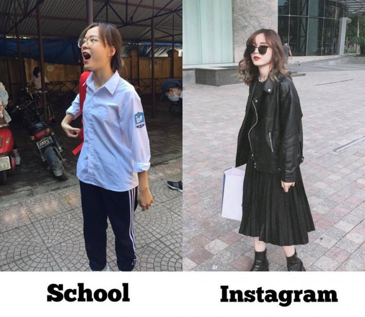 Tìm ra cô bạn trong bức ảnh 'bóc phốt con gái' lúc đi học và khi lên đồ 'thả thính' đang gây sốt Ảnh 1