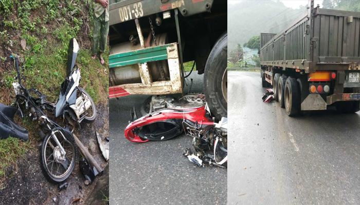 Xe container mất phanh cuốn 4 xe máy vào gầm, 4 người thương vong ở Lào Cai Ảnh 1