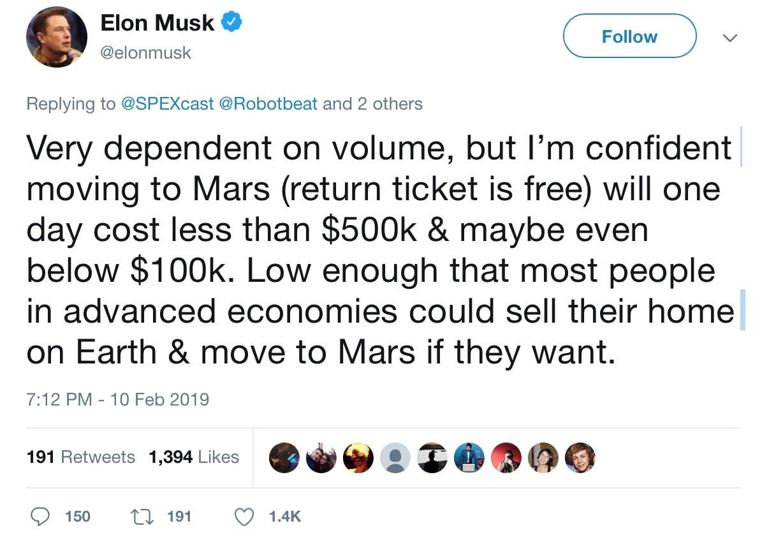 Elon Musk tuyên bố vé lên sao Hỏa hết nửa triệu USD, miễn phí chiều về Ảnh 1