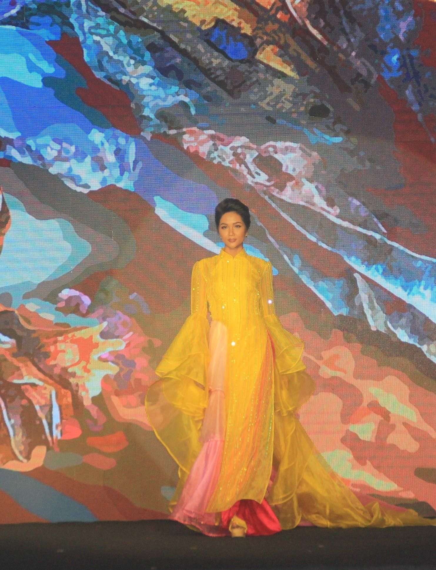 H'Hen Niê lộng lẫy diễn catwalk đêm bế mạc Lễ hội Áo dài TPHCM 2019 Ảnh 5