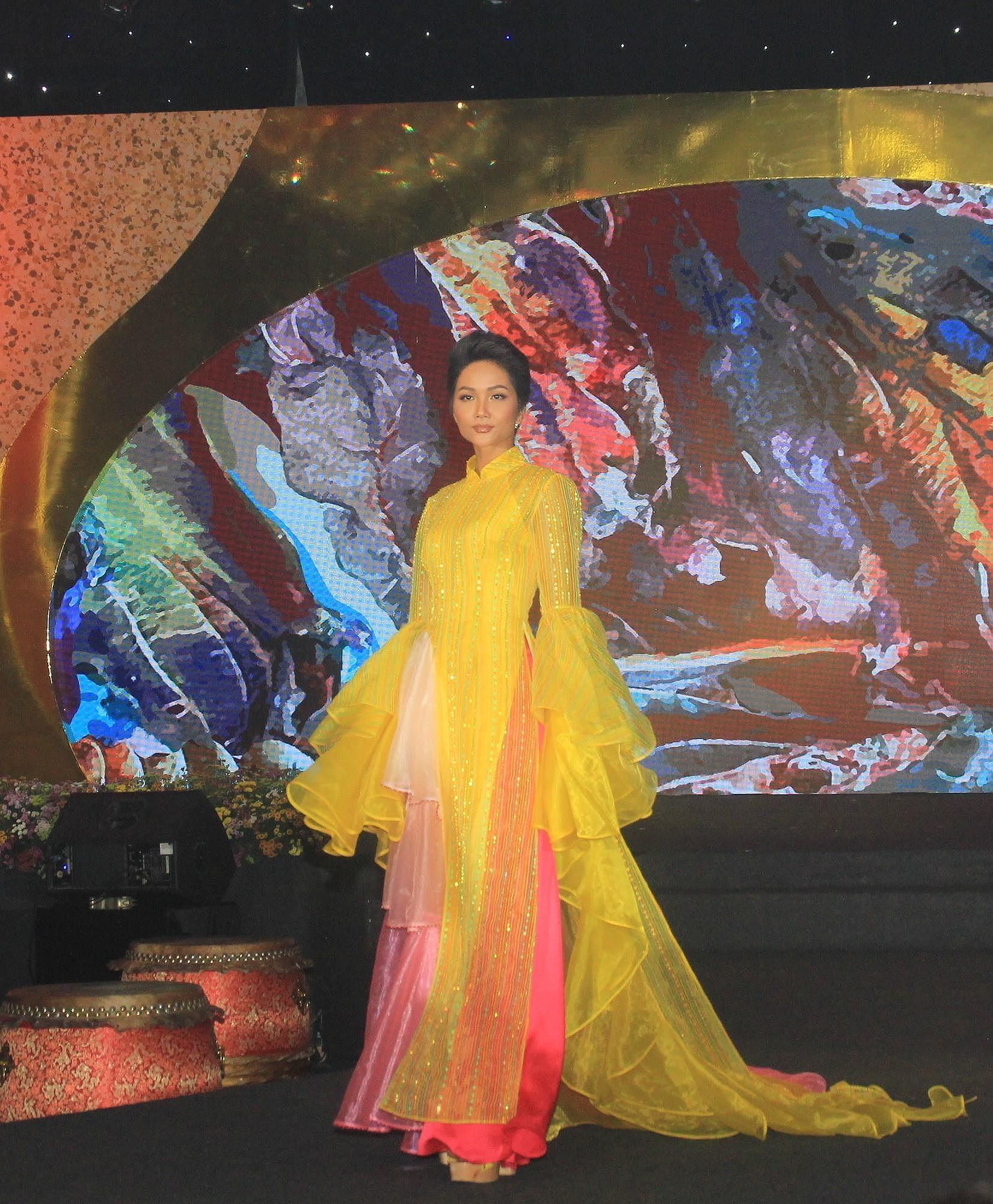 H'Hen Niê lộng lẫy diễn catwalk đêm bế mạc Lễ hội Áo dài TPHCM 2019 Ảnh 4