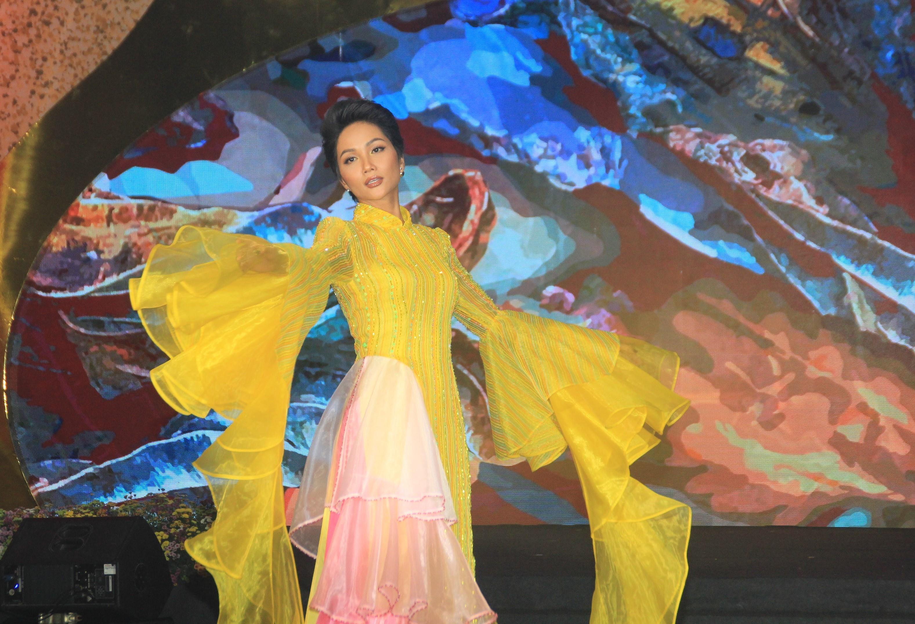 H'Hen Niê lộng lẫy diễn catwalk đêm bế mạc Lễ hội Áo dài TPHCM 2019 Ảnh 3