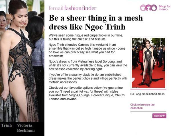 Ngọc Trinh bị báo Anh chế giễu vì 'váy nhìn thấy hết mọi thứ' ở LHP Cannes Ảnh 2