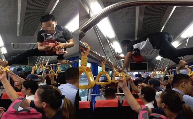 Phụ xe buýt thu tiền kiểu 'người nhện' khiến nhiều khách không dám ngước lên nhìn Ảnh 1