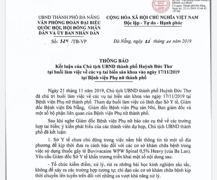 Vụ sản phụ tử vong nghi do thuốc gây tê: Chủ tịch Đà Nẵng phê bình, yêu cầu Giám đốc sở Y tế kiểm điểm Ảnh 1