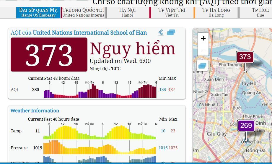 Ô nhiễm không khí lại vọt ngưỡng nguy hại vào sáng nay Ảnh 1