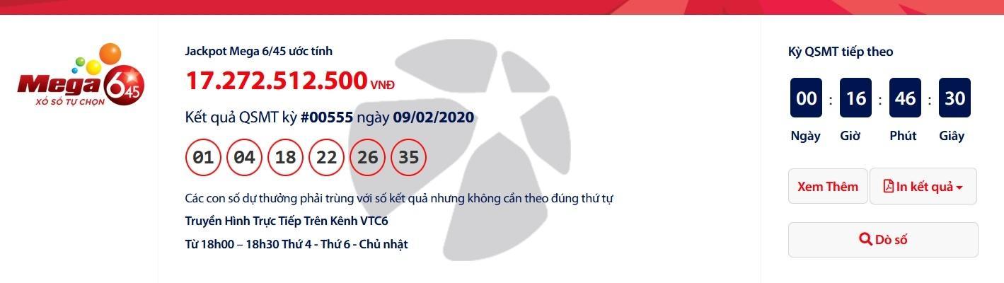 Kết quả xổ số Vietlott Mega 6/45 tối ngày 12/12/2020 mới nhất: Chủ nhân của hơn 17 tỉ đồng là ai? Ảnh 1