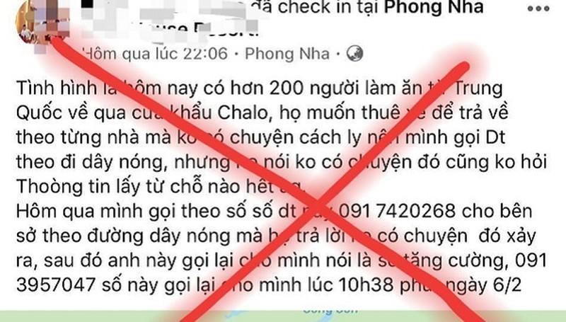 Xử lý thêm trường hợp tung tin sai sự thật bệnh Covid-19 ở Quảng Bình Ảnh 1