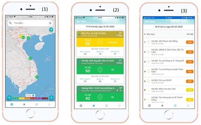 Triển khai ứng dụng thông tin chất lượng không khí trên điện thoại di động Ảnh 2
