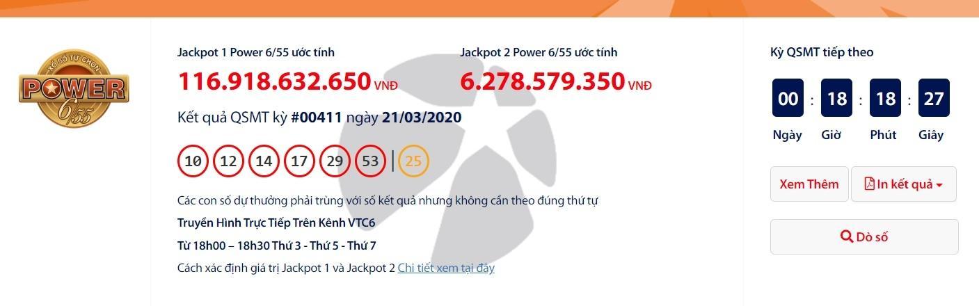 Kết quả xổ số Vietlott Power 6/55 tối ngày 24/3/2020: Giải 'khủng' hơn 122 tỉ đồng vừa thuộc về ai? Ảnh 1