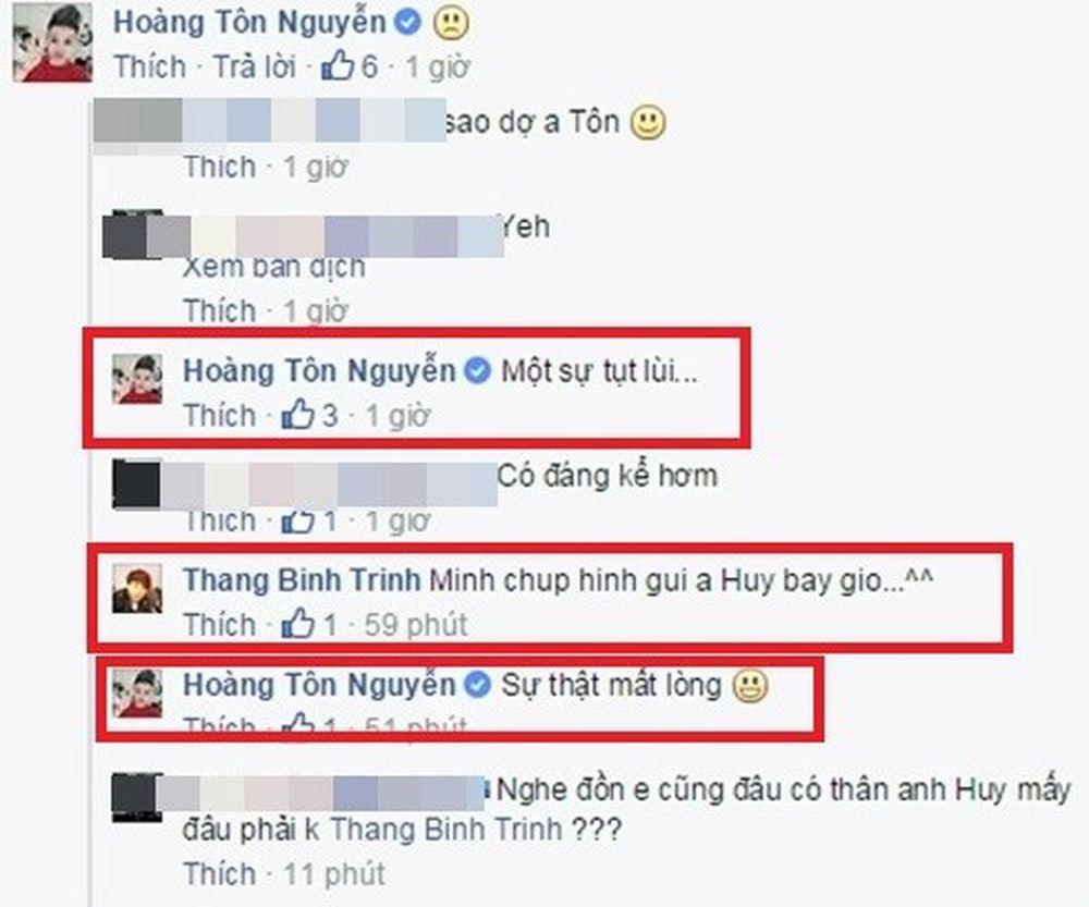 """Trong khi đó Trịnh Thăng Bình dí dỏm viết rằng sẽ chụp ảnh lại và gửi cho  nhạc sĩ Quang Huy thì Hoàng Tôn thẳng thắn chia sẻ """"Sự thật mất lòng""""."""