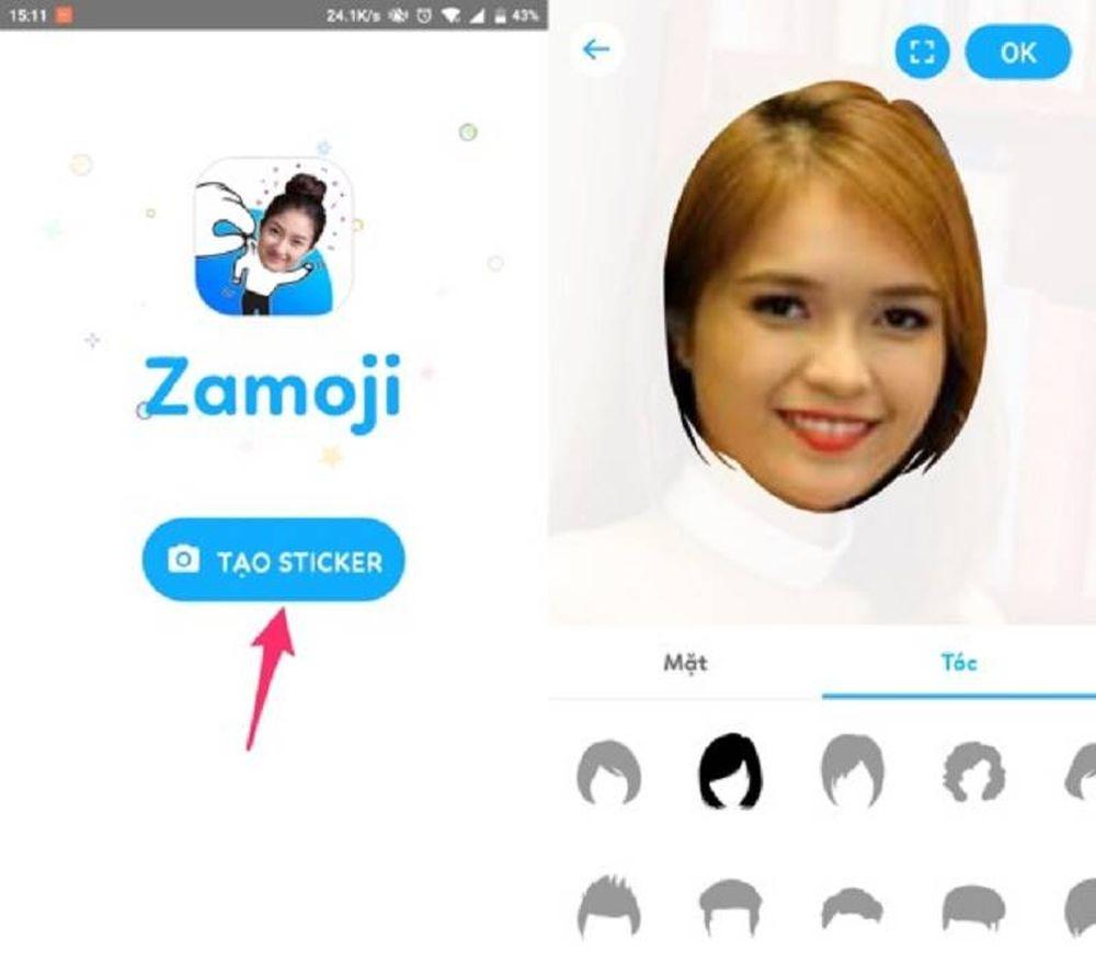 Bước 2: Khi cài đặt hoàn tất, bạn đăng nhập vào Zamoji bằng tài khoản Facebook hoặc Zalo rồi nhấn Tạo Sticker. Một cửa số mới sẽ hiện ra, người dùng có ...