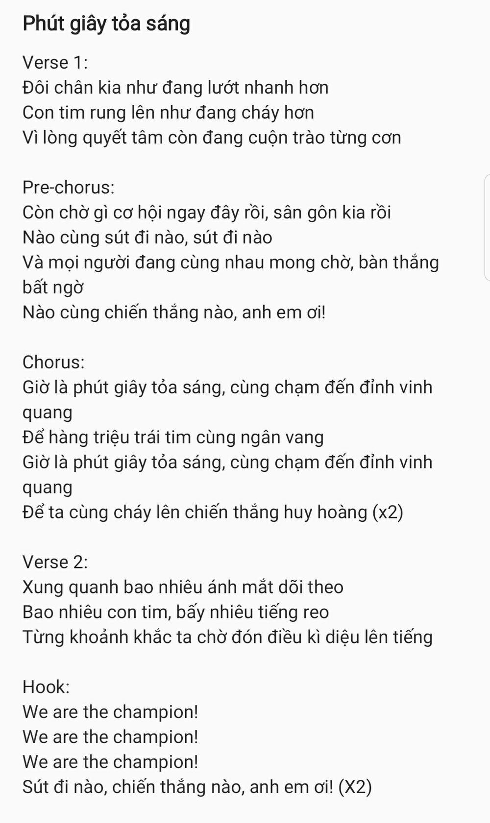 Lời bài hát được Khắc Hưng tiết lộ.
