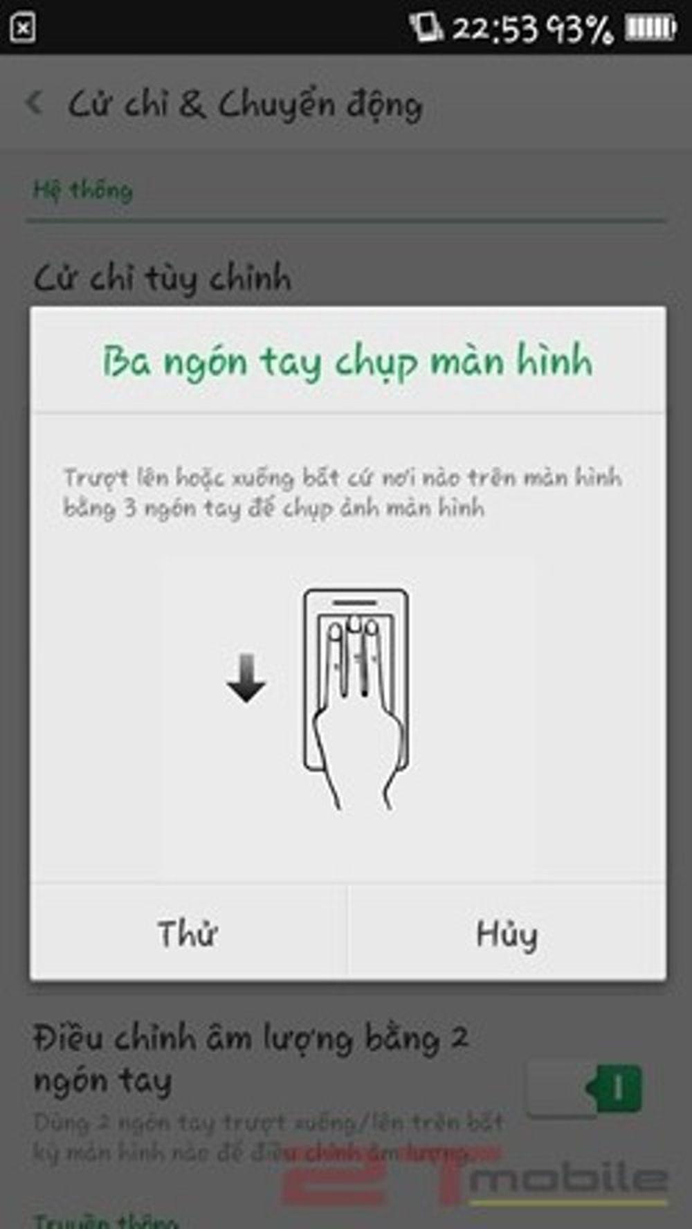 Bước 3: Bật ON cho tính năng 3 ngón tay chụp màn hình.
