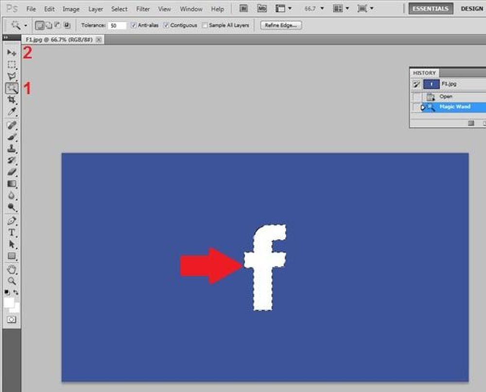 Hướng dẫn cắt ghép ảnh trong Photoshop: Dùng các công cụ (1) khoanh chọn vùng đối tượng cần ghép, sau đó chuyển sang công cụ Move (2).