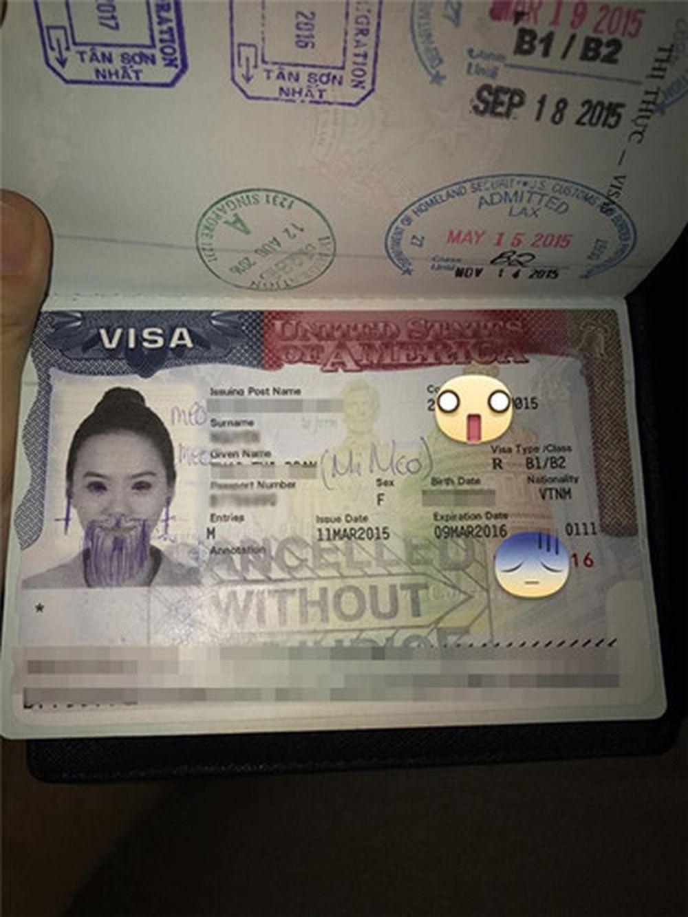Facebooker Đ.T.N chia sẻ ba bức ảnh khá \u201cthê thảm\u201d chụp thị thực và hộ chiếu bị phá hoại, vẽ kín mặt như thời xưa ta hay vẽ bậy vào sách giáo ...