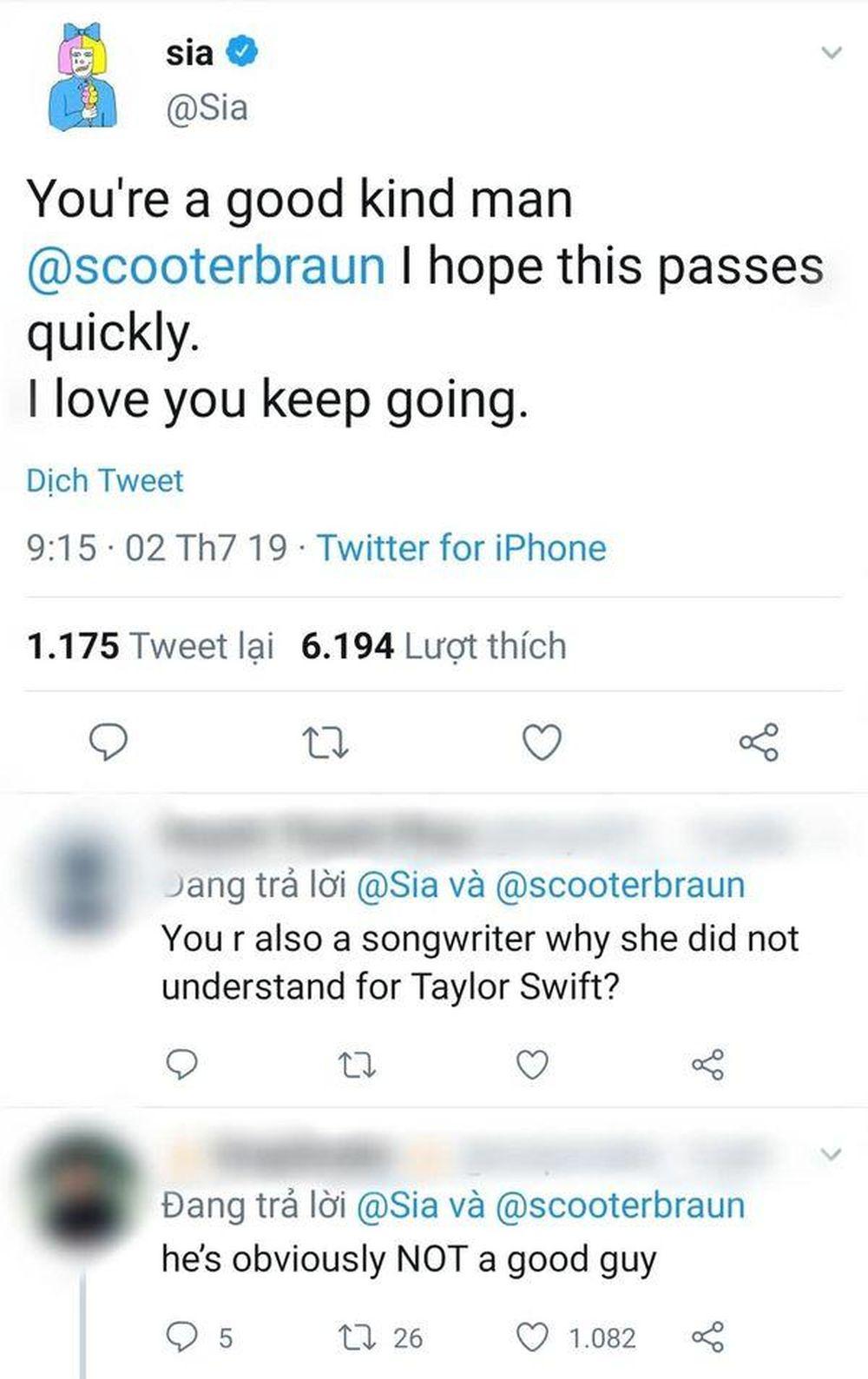 Sia khiến fan thất vọng khi lên tiếng bênh vực Scooter Braun: 'Là