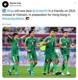 Tuyển Iraq sẽ đấu giao hữu với Jordan thay vì Việt Nam