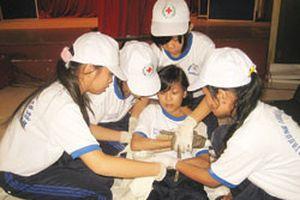 Học sinh tham gia hội thi sơ cấp cứu