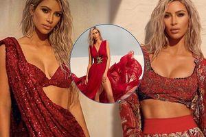 Kim Kardashian thân hình rực lửa trong loạt đầm đỏ