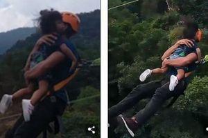 Hốt hoảng cảnh cha ôm con gái nhảy bungee cao hơn 60m