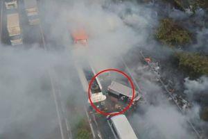 Hiện trường tai nạn liên hoàn trên cao tốc Long Thành - Dầu Giây nhìn từ trên cao