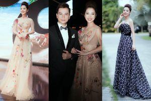 Hoa hậu Jennifer Phạm diện váy hoa 3D xinh như công chúa, 'song kiếm hợp bích' cùng trai lạ