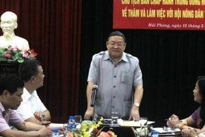 Chủ tịch Hội NDVN Thào Xuân Sùng làm việc với Hội ND Hải Phòng