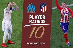 Chấm điểm Marseille 0-3 Atletico Madrid: Griezmann suýt nhận điểm 10