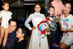 Diễn viên Ngọc Lan cùng các 'nhóc tì' nhà sao Việt dự họp báo phim hoạt hình 'Doraemon: Nobita và đảo giấu vàng'