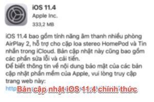 Apple phát hành bản cập nhật iOS 11.4 chính thức