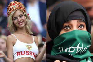 Dàn cổ động viên trên khán đài trận mở màn: Nga bốc lửa, Ả rập bí ẩn trong những chiếc mạn che mặt