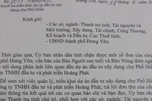 Thanh tra toàn diện dự án đầu tư xây dựng chợ Phố Hiến, Hưng Yên