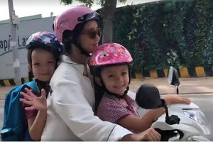 Chồng cũ chu cấp tiền, Hồng Nhung đưa con đi học bằng xe máy