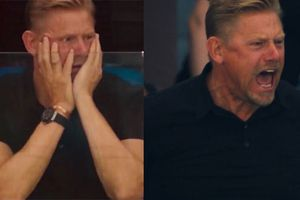 Peter Schmeichel biểu cảm hài hước khi con trai cản thành công 11 m
