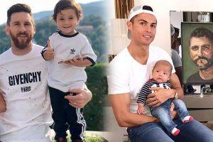 Vẻ đáng yêu của hai cậu ấm Mateo nhà Messi và Ronaldo
