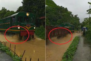 Clip: Đường ray ngập nước, dân Yên Bái thích thú xem tàu hỏa hóa... tàu thủy