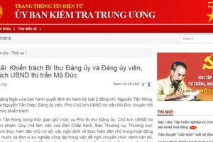 Quảng Ngãi: Khiển trách Bí thư Đảng ủy và Đảng ủy viên, Phó Chủ tịch UBND thị trấn Mộ Đức