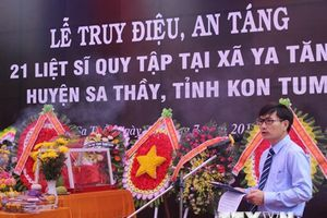Kon Tum: Truy điệu, an táng 21 hài cốt liệt sỹ tại Sa Thầy