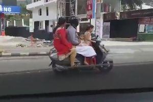 Clip bé gái 5 tuổi chở cả gia đình trên xe máy, phóng vun vút trên đường