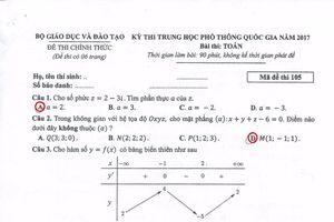 Bài giải môn Toán THPT quốc gia 2017 (Mã đề 105)
