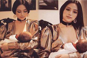 Huyền Baby đến cho con bú cũng đẹp đến nao lòng