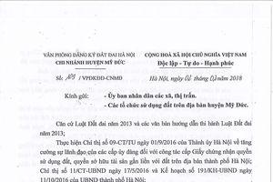 Văn phòng ĐKĐĐ huyện Mỹ Đức (Hà Nội): PGĐ có 'lạm quyền' khi ban hành văn bản?