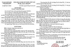 Ninh Bình: Xử phạt Công ty TNHH YG VINA 144 triệu đồng