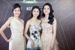 Hoa hậu Thu Ngân diện đầm xẻ sâu, đọ sắc với dàn mỹ nhân trên thảm đỏ 'Ngôi sao danh vọng'