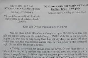 Sở TN&MT tỉnh Gia Lai đề nghị huyện Chư Păh báo cáo việc khai thác cát trái phép trước 8/8