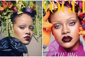 Rihanna gây sốc khi diện lông mày nhỏ như sợi chỉ trên bìa tạp chí