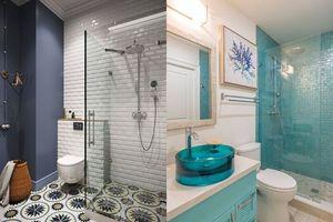 Phòng tắm lúc nào cũng mát lịm tim nhờ sử dụng các gam màu xanh dương độc đáo
